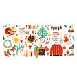 collection of christmas decorations holiday gifts vector image