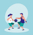 couple practicing basketball avatar character vector image