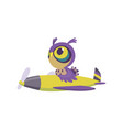 cute baby animal owl on airplane funny pilot vector image vector image