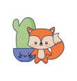 cute fox animal baby vector image vector image