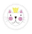 Cute Hand Drawn Cat with Crown Background vector image vector image
