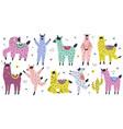 cute llamas collection in scandinavian vector image vector image
