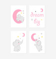 cute posters with little elephant prints vector image