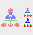 dotted engineer hierarchy icons vector image vector image