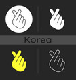 finger heart dark theme icon vector image