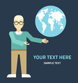 Flat design Man with globe Ecology or glob vector image