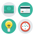 flat icons dollars card lamp and watch vector image vector image