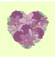 flowers lilies and roses in the shape of a heart vector image vector image