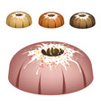 four bundt cake topped with sugar glaze and sprink vector image vector image