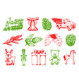 hand drawn of christmas toys vector image