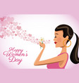 happy womens day card cute girl flower heart vector image vector image