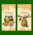 honey waxing bee and beehive sale flyer poster vector image