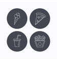 Ice cream pizza and soft drink icons vector image