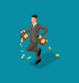 isometric businessman big pile dollars in a bank vector image