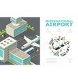 isometric international airport composition vector image