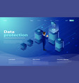 isometric personal data protection web banner vector image vector image