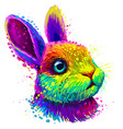 little rabbit color abstract portrait vector image vector image