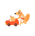 loving father fox pushing toy car with her kid vector image vector image