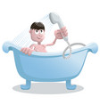 man takes a shower in the bathroom vector image