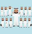 middle eastern businessman in different poses vector image vector image