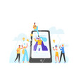 mobile phone woman with megaphone on screen vector image