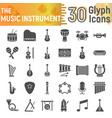 music instrument glyph icon set musical symbols vector image vector image