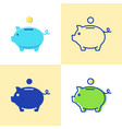 piggy bank icon set in flat and line style vector image