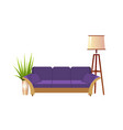 realistic violet sofa with floor lamp and vector image vector image
