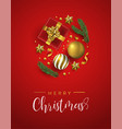 red christmas gifts and holiday elements card vector image
