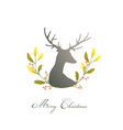 romantic deer or reindeer with floral wreath vector image