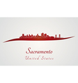 Sacramento skyline in red vector image vector image