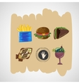 Set color sketches icons of food vector image