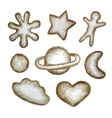 Set of cookies made pencil vector image vector image