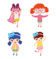 set of cute girl cartoons vector image vector image