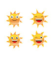 set of funny sun faces vector image