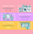 set of laundry horizontal banners in linear vector image vector image