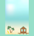 summer holiday bungalow and island in sea vector image vector image