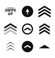 swipe up set buttons for social media black vector image vector image