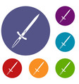 sword icons set vector image vector image
