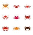 underwater crab icons set cartoon style vector image vector image