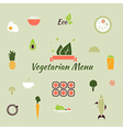 Vegetarian menu icons in the flat color style vector image vector image