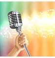 Vintage Microphone Light Background Poster vector image