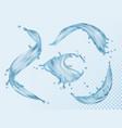 water splashes flowing liquid aqua with various vector image