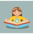 Young Girl Reading Book Sitting on Floor vector image vector image