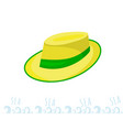 a man straw straw hat with a green ribbon yellow vector image