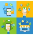Computer shopping concepts of online payment vector image