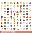 100 history icons set flat style vector image vector image