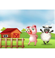 A farm with a pig and a sheep vector image