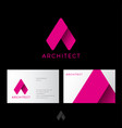 a letter architect logo pink origami identity vector image