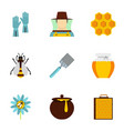 apiary icons set flat style vector image vector image